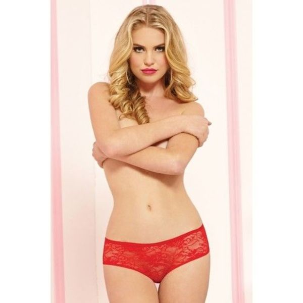 Seven 'til Midnight Lace Open Crotch Boyshort with Ruffles Red