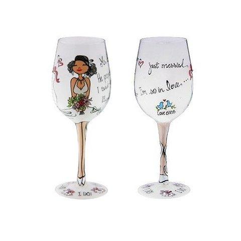 """Wine Glass  - """" I Do"""""""