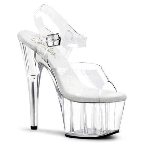"""7"""" Spike Heel Clear Platform Ankle Strap Sandal"""