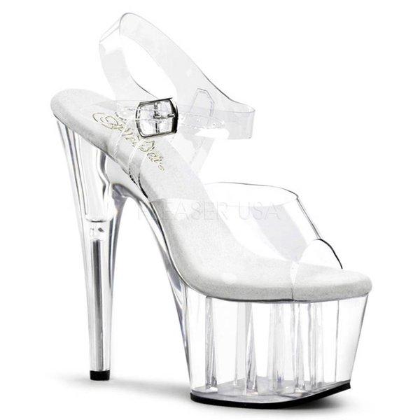 """Pleaser 7"""" Spike Heel Clear Platform Ankle Strap Sandal"""