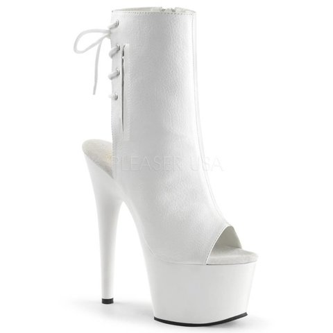 "7"" White Stiletto Heel Platform Open Toe/Heel Lace-Up Back"
