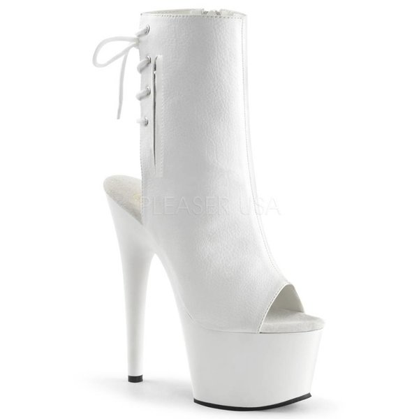 "Pleaser 7"" White Stiletto Heel Platform Open Toe/Heel Lace-Up Back"
