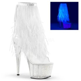 "Pleaser 7"" Stiletto Heel Platform Ankle Boot With White UV Marabou"