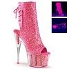 "Pink Glitter 7"" Stiletto Heel Platform Open Toe/Heel Lace-Up Back"