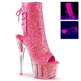 "Pleaser Pink Glitter 7"" Stiletto Heel Platform Open Toe/Heel Lace-Up Back"