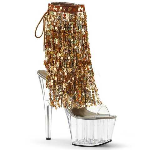 "7"" Gold Fringe Sequin Stiletto Clear Heel Platform Open Toe/Heel Lace-Up Back"