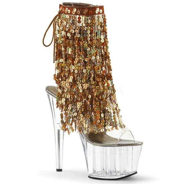 "Pleaser 7"" Gold Fringe Sequin Stiletto Clear Heel Platform Open Toe/Heel Lace-Up Back"
