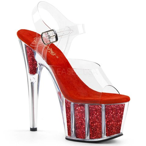 """7"""" Spike Heel Glitter Red Platform Ankle Strap Sandal"""