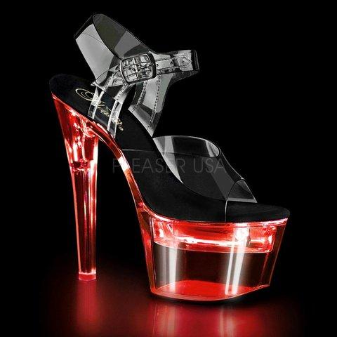 "Spiked 7"" Heel LED  Illuminated Platform Ankle Strap Sandal"