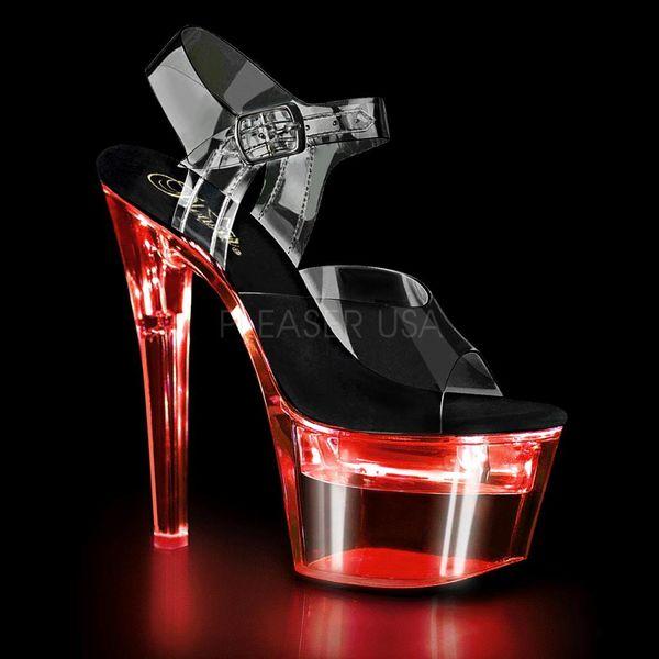 "Pleaser Spiked 7"" Heel LED  Illuminated Platform Ankle Strap Sandal"