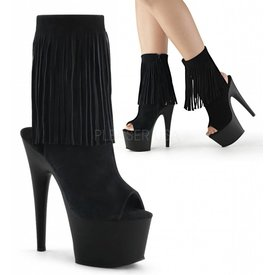 "Pleaser 7"" Heel Platform  Faux Leather Fringe Open Toe/Heel Lace Up Ankle Boot"