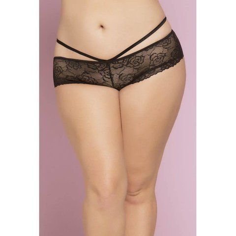 Lace Cheeky Panty with Criss-Cross Straps - Curvy