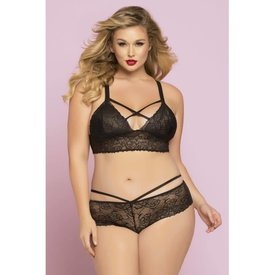 Seven 'til Midnight Long Line Lace Bralette With Criss-Cross Straps - Curvy