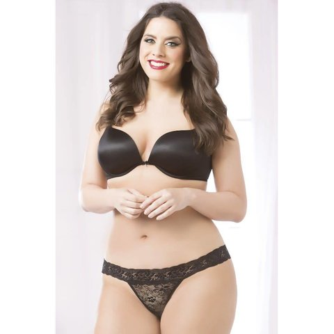 Rose Lace Thong Black - Curvy