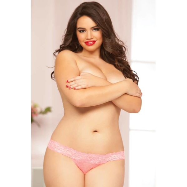Seven 'til Midnight Rose Lace Thong Pink - Curvy