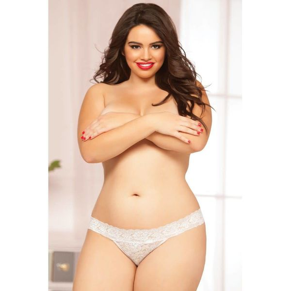 Seven 'til Midnight Rose Lace Thong White - Curvy