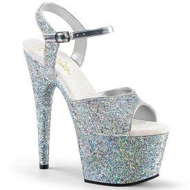 "Pleaser 7"" Heel, 2 3/4"" PF Holo Glitter Ankle Strap Sandal"