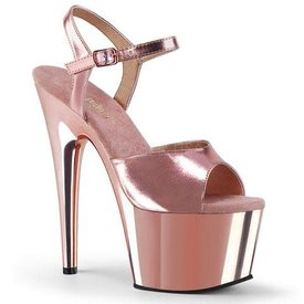 Pleaser Spike Heel Rose Gold Platform Ankle Strap Sandal