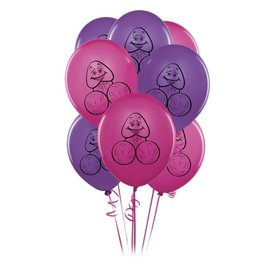 Pipedream Bachelorette Party Favors Pecker Balloons - Pink & Purple Pack of 8