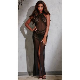 Dreamgirl High Neck Lace And Mesh Gown Set
