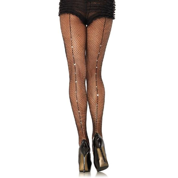 Leg Avenue Rhinestone Back Seam Fishnet Pantyhose