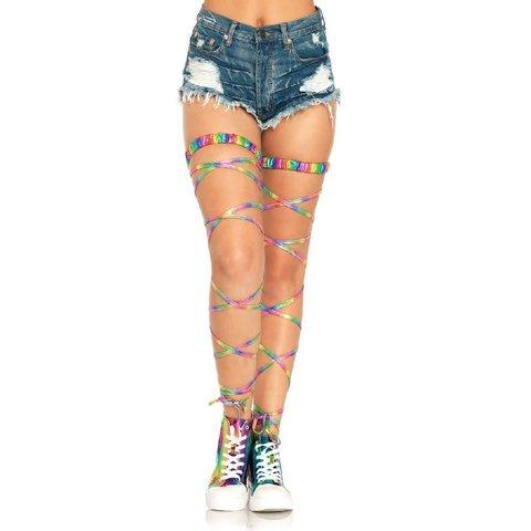 Shimmering Rainbow Gartered Leg Wraps