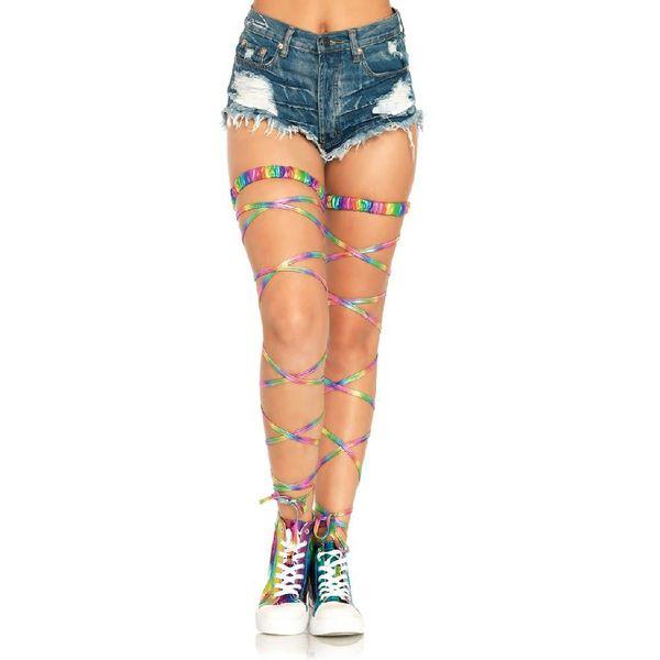 Leg Avenue Shimmering Rainbow Gartered Leg Wraps