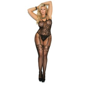 Elegant Moments Fishnet and Lace Bodystocking Curvy/Plus
