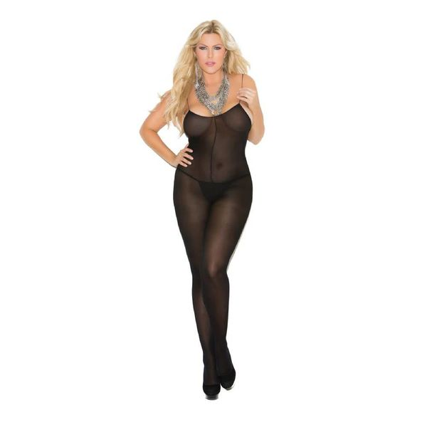 Elegant Moments Opaque Bodystocking With Spaghetti Straps Black Curvy/Plus