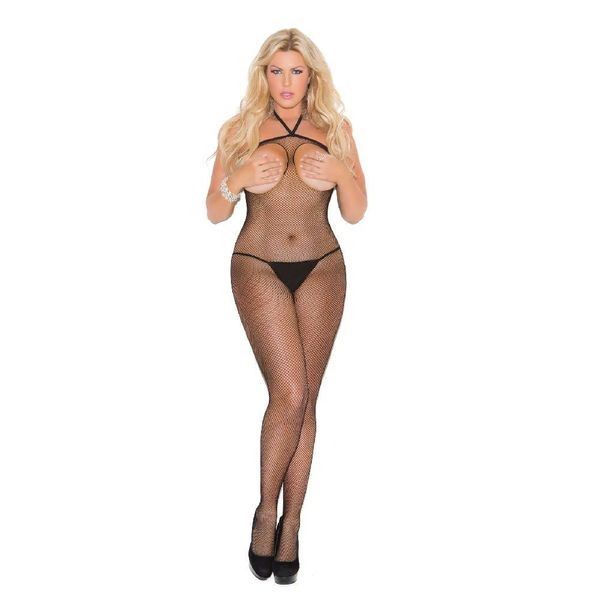 Elegant Moments Open Bust Fishnet Bodystocking Curvy/Plus