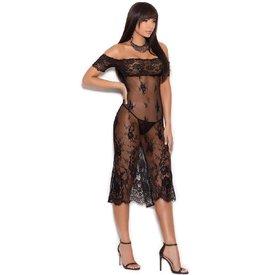 Elegant Moments Off The Shoulder Tea Length Gown - Curvy/Plus