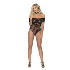 Elegant Moments Off The Shoulder Black Lace Teddy