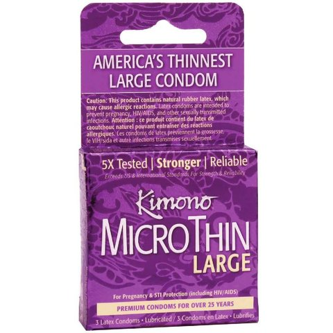 Microthin Large Condom 3-pack