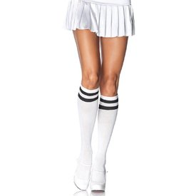 Leg Avenue Athletic Knee High Socks - White/Black