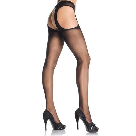 Sheer Suspender Pantyhose Black - Queen