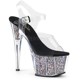 "Pleaser Adore-708 7"" Glitter Spike Heel Platform w/Clear Ankle Strap"