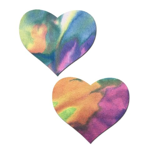 Pastel Tye-Dye Suede Heart Pasties