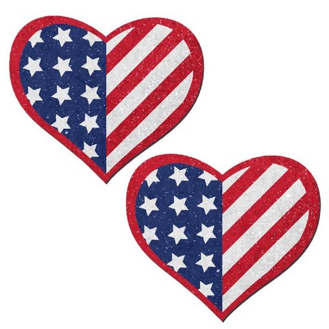 Glittering Patriotic USA Stars and Stripes Heart