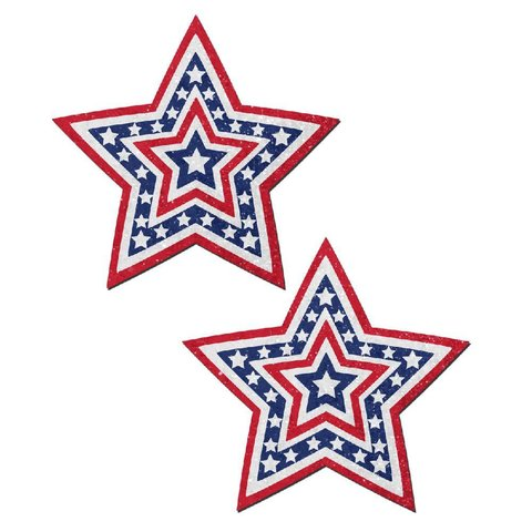 Glittering Patriotic USA Beating Star Pasties
