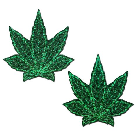 Glitter Green Weed Pasties