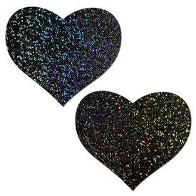Pastease Black Glitter Heart Pasties