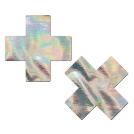 Pastease Silver Holographic Cross Pasties