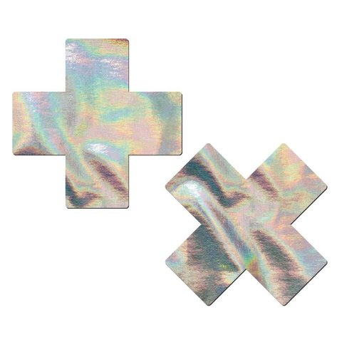 Silver Holographic Cross Pasties