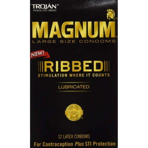 Trojan Magnum Ribbed Condom 12-pack