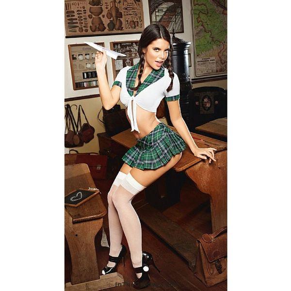 Baci Plaid Top Schoolgirl Set Queen