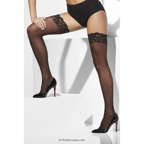 Sheer Thigh High Lace Top Stay-Ups - Black - One Size