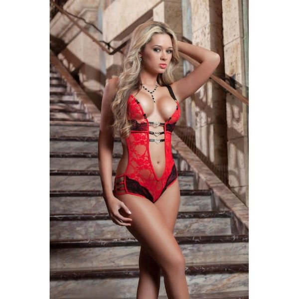 G World  Intimates Lace Teddy w/Heart Charms Red One Size