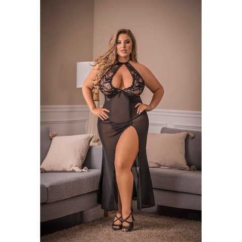 Pure Bliss Keyhole Gown and Panty - Curvy