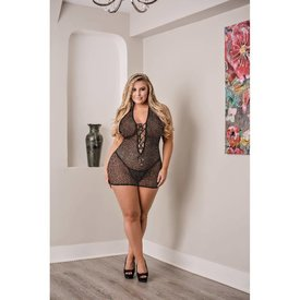 Exposed Chemise with Lace up Back and G-String - Curvy