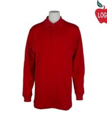 School Apparel A+ Red Long Sleeve Polo #8326